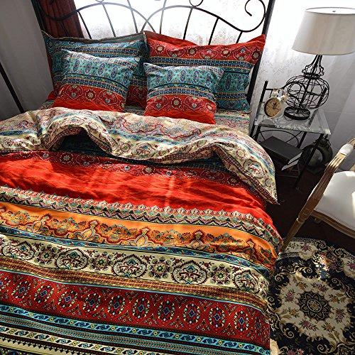 Qucover Bunt Bettwäsche 135x200 Boho Stil aus 100% Baumwolle Bohemian Bettbezug mit Reißverschluss 2 Teilig-Set mit 1 Kissenbezug 80x80 cm Weich & Warm
