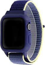 アップルウォッチ/Apple Watch全シリーズ対応バンパー一体型交換バンド 柔らかい樹脂バンパーがアップルウォッチ本体を保護、スポーティでカラフルなベルクロタイプのバンド 全18色 38/40mmブルーグレー