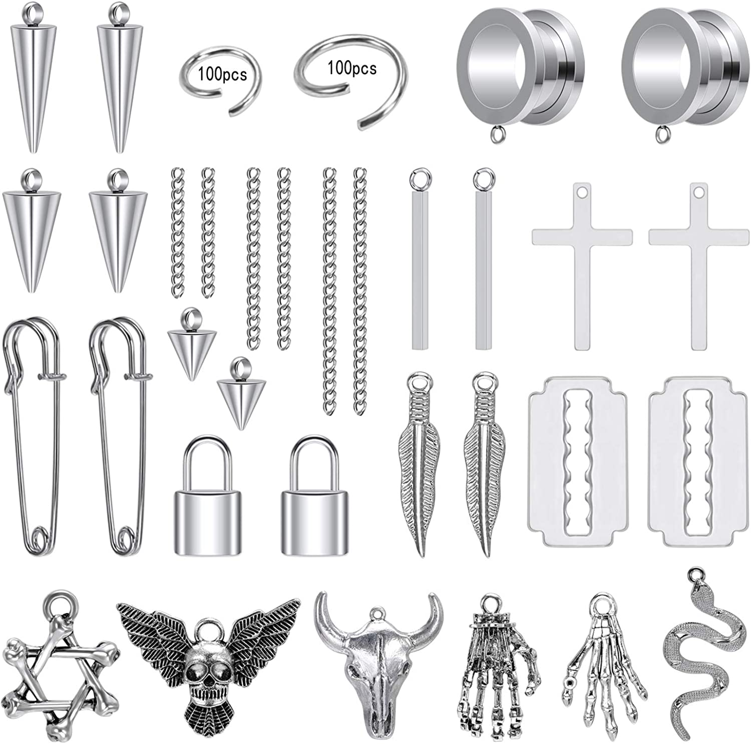 ZS 230 Pieces DIY Ear Tunnels Accessories Dangle Gauges Body Piercing Jewelry, Stainless Steel 4g - 7/8 inch Dangle Ear Gauges for Women/Men
