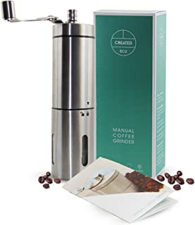 Manual Coffee Grinder, Hand Mill Coffee or Spices Burr with this Stainless Steel Grinder - Easy to Adjust Grinds for Espresso through to Moka and French Press. Included Instructions and Bonus E-Book