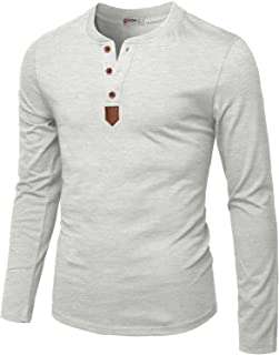 H2H Mens Casual Slim Fit Henley Long Sleeve T-Shirt Basic Designed