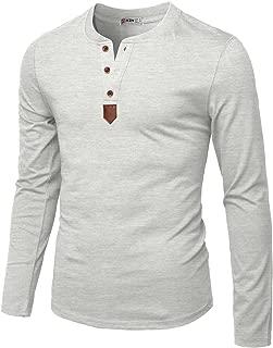 H2H Mens Casual Slim Fit Henley Long Sleeve T-Shirt Basic Designed