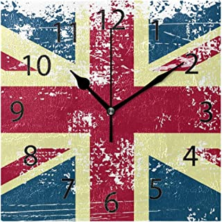 XiangHeFu Wall Clock,Square 8x8 Inches Silent Art UK Flag Vintage Decorative for Home Office School