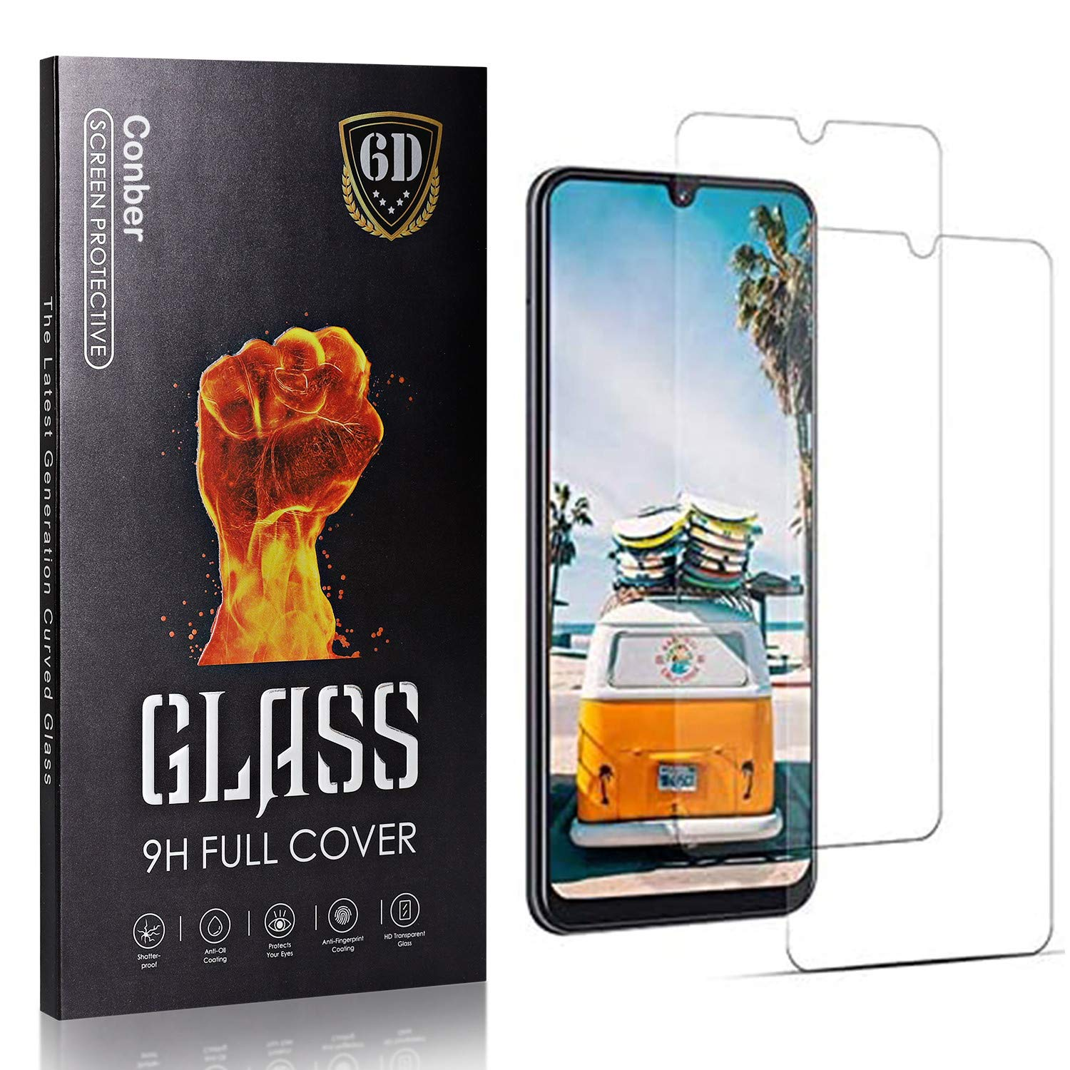 Conber 2 Pack Memphis Mall Screen Protector Temper Max 40% OFF for Samsung A70S Galaxy