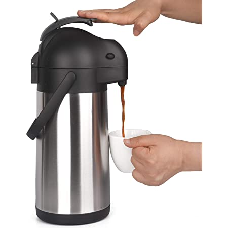 Cresimo 2.2 Liter Airpot Thermal Coffee Carafe with Pump/Lever Action/Stainless Steel Insulated Thermos / 12 Hour Heat Retention / 24 Hour Cold Retention / 74 Ounce Pump Coffee Pot
