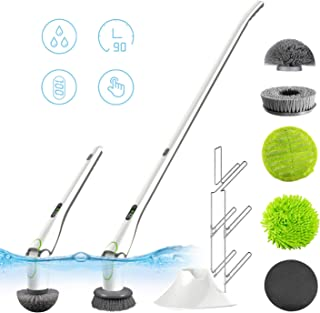 GOOD PAPA Electric Spin Scrubber, 360 Power Tile Scrubber HD LED Display,with 5 Replaceable Brush Heads Device Stand and Storage Rack for Bathroom Kitchen,Tub