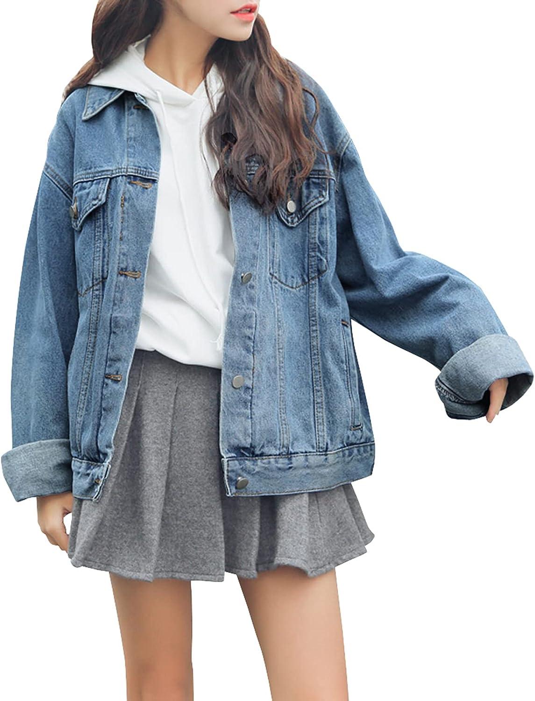 low-pricing Dasior Women's Boyfriend Denim Jackets Jean Co Long Loose High quality Sleeve