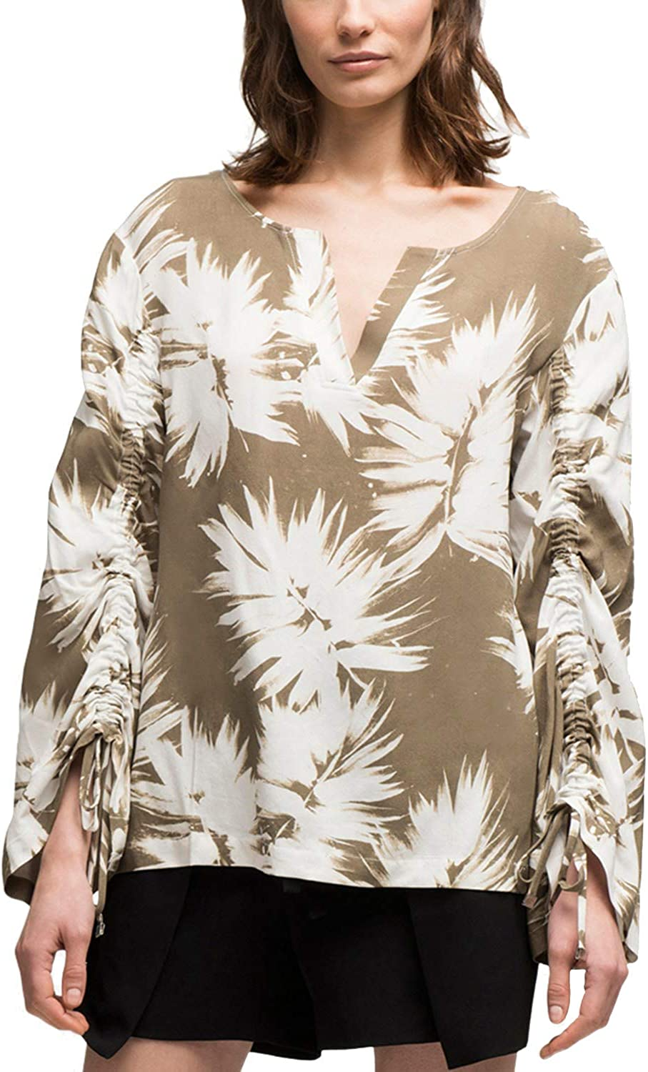 DKNY Womens Printed Ruched Blouse