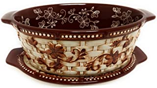 Temp-tations Basketweave 1.5 Qt Oval Baker w/Tab Handles and Lid-It (Tray) and Plastic Cover (Floral Lace Chocolate)