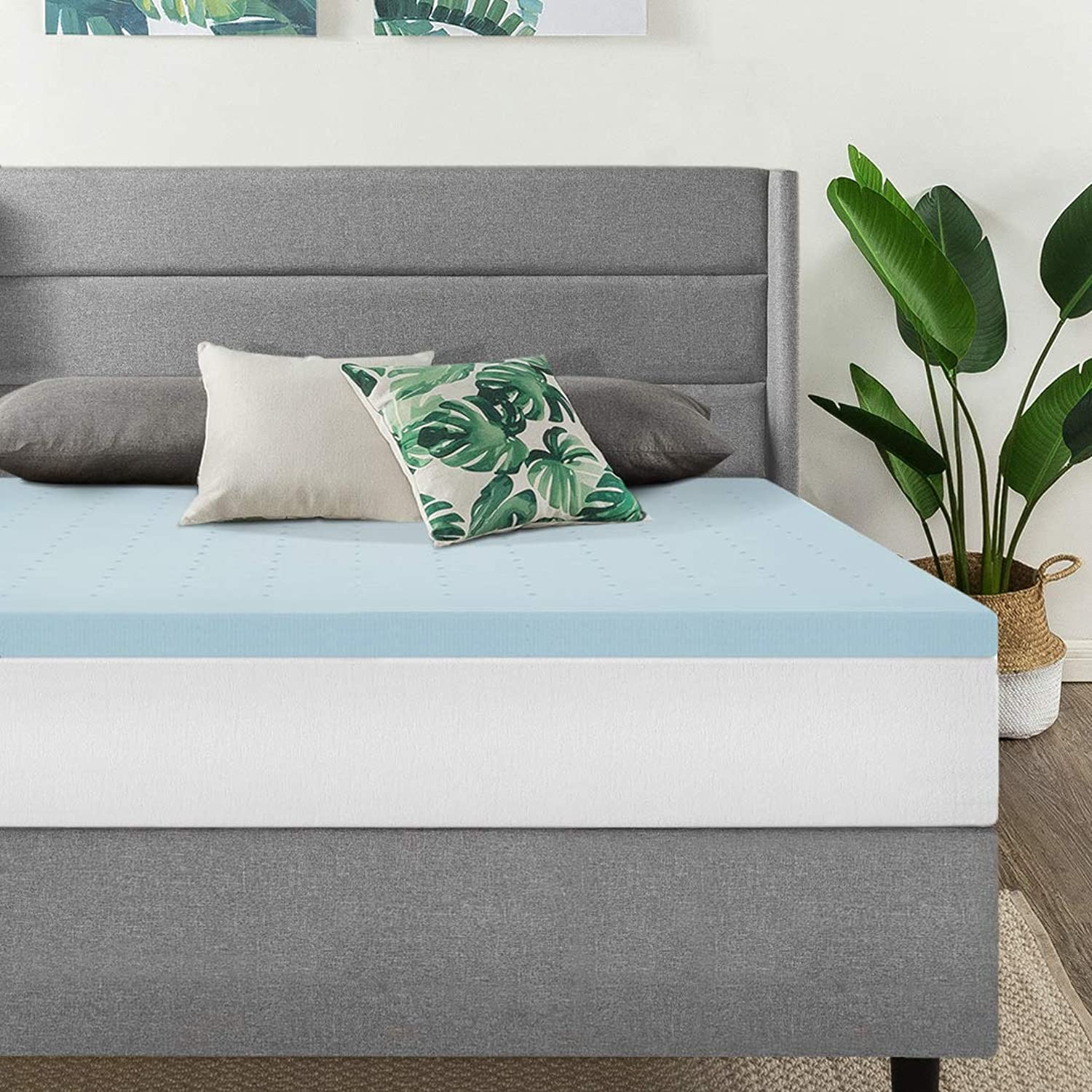 Best Price Mattress Twin XL 1.5 Inch Gel Memory Foam Bed Topper with Cooling Mattress Pad Extra Long Size, bluee