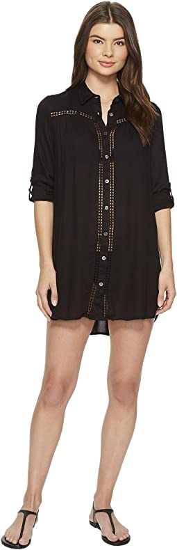 Lace Shirred Boyfriend Shirt Cover-Up
