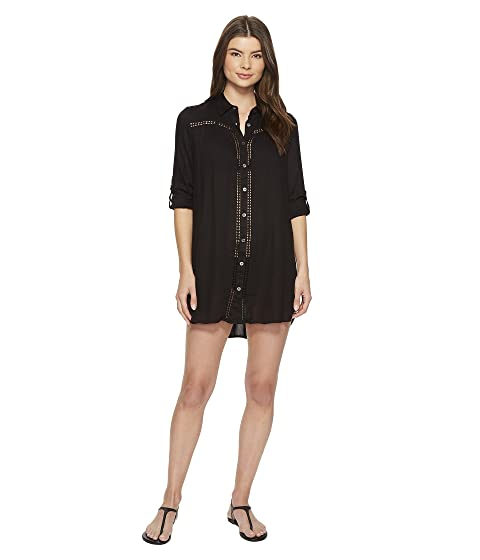 2cbbcb50d8ad1 Tommy Bahama Lace Shirred Boyfriend Shirt Cover-Up at Zappos.com