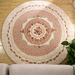 LGXH Round Area Rug 6.56'Oriental Floral Living Dining Room Bedroom Home Carpet Soft Indoor House Rugs Beige