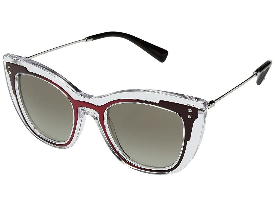 Valentino 0VA4031 (Transparent Red Matte/Gradient Green) Fashion Sunglasses