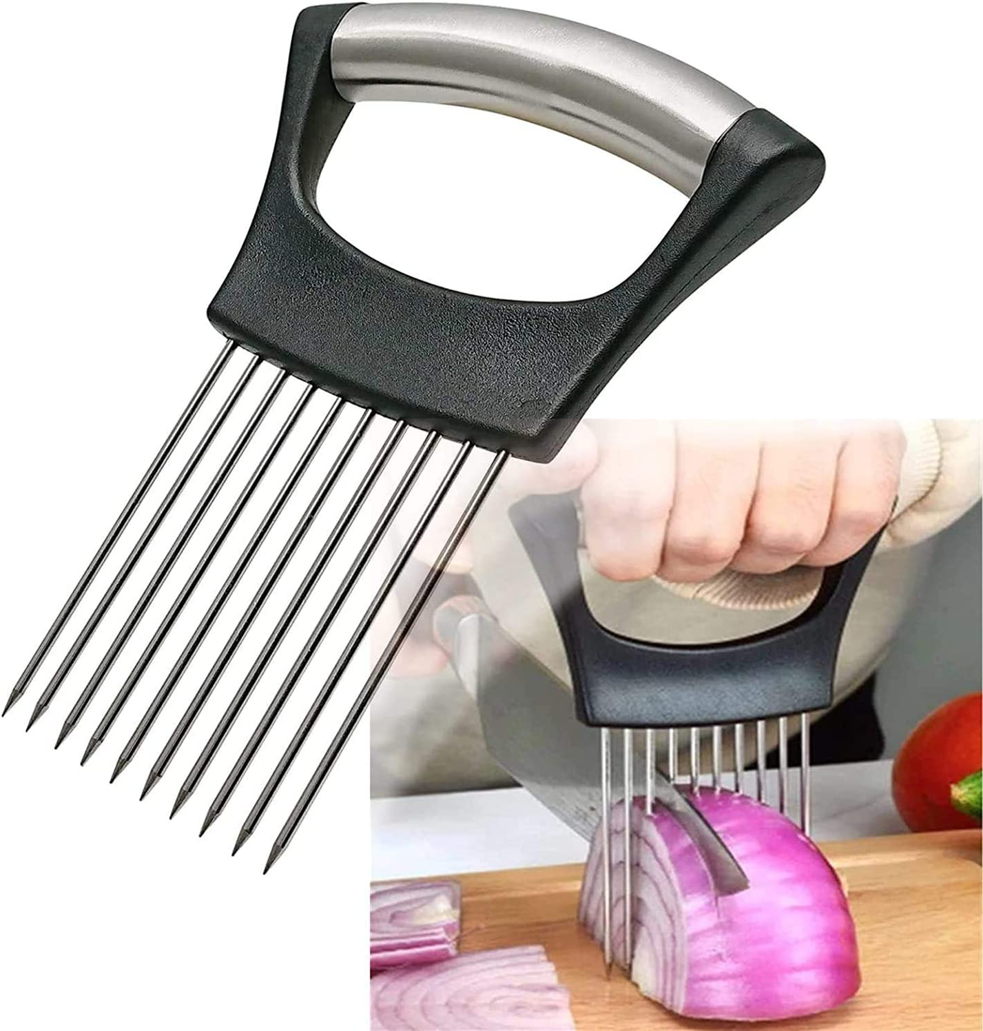 Food Slice Assistant Onion Holder Slicer Steel Miami Mall Deluxe Vegeta Stainless