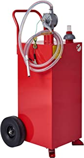CO-Z 30 Gallon Fuel Tank on Wheels, Portable Gas Caddy with Fuel Transfer Pump, Hose and Roughneck, Heavy-Duty Gasoline Di...