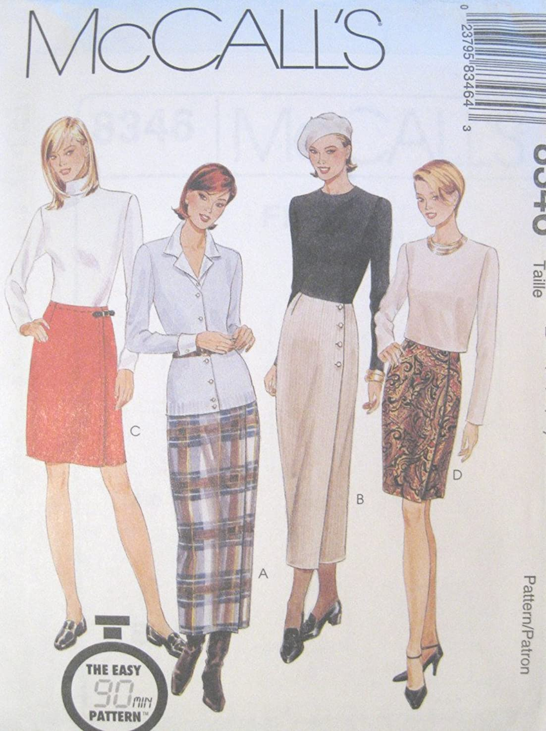 Misses Straight Wrap Skirt Sewing Pattern McCall 8346 (8-10-12)
