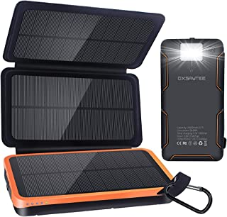 Oxsaytee Solar Power Bank, 24000mAh Portable Solar Chargers with 3 Solar Panel and LED Light Outdoor Waterproof External B...