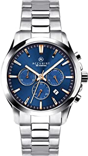 Accurist Mens Stainless Steel Japanese Quartz Sports Chronograph Watch With Push Button Clasp, Date window, 50m Water Resi...