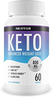 Pure Keto Slim - Keto Diet Pills - Exogenous Ketones Help Burn Fat - Weight Loss Supplement to Burn Fat - Boost Energy and Metabolism - 60 Capsules