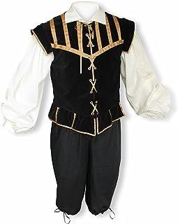 68afdac5c3 Men s Renaissance 3 Piece Doublet Costume With Poet Shirt and Breeches