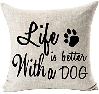 Best Dog Lover Gifts Nordic Warm Sweet Funny Sayings Life is Better with A Dog Bone Paw Prints Cotton Linen Throw Pillow C...