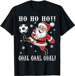 Santa Claus Playing Soccer Around Snow HO HO HO Goal Shirt