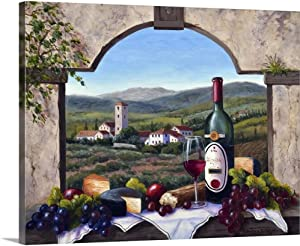 A Tuscany Vista Canvas Wall Art Print, Wine Artwork