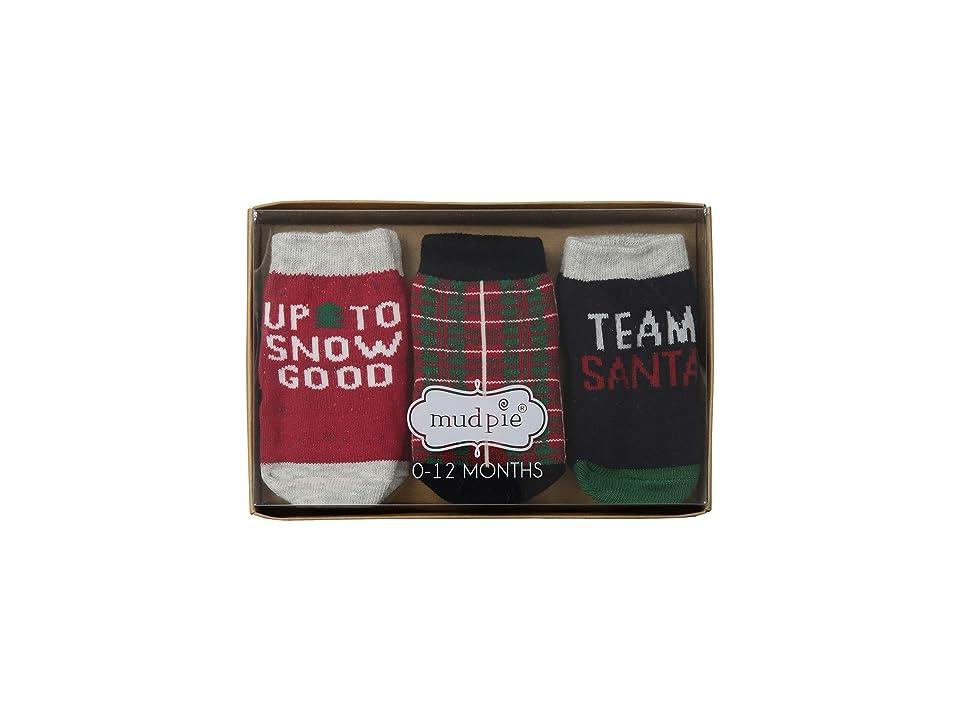 Mud Pie Christmas Team Santa 3-Pair Socks Set (Infant) (Red) Boys Shoes