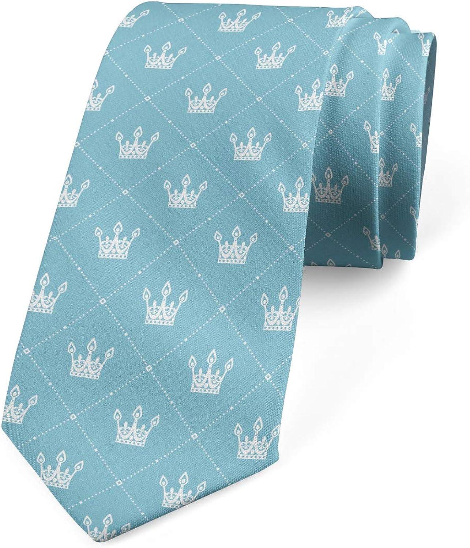 Lunarable Men's Tie, Crowns Checkered Design, Necktie, 3.7