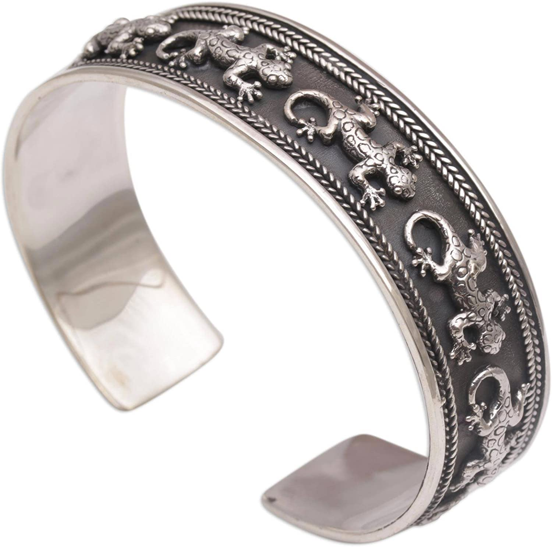 NOVICA .925 Sterling Silver Cuff Bracelet 'Gecko Parade'