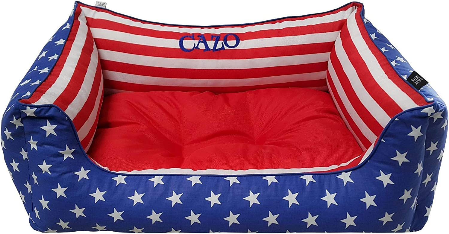 CAZO 4th of July US Flag shopping Cotton Pet for Max 89% OFF Cats R and with Bed Dogs