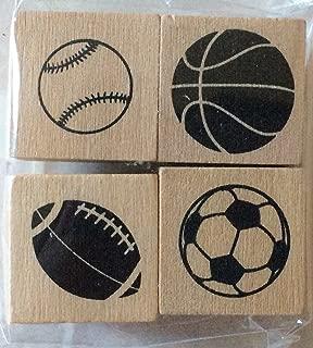 Set of 4 Sport Balls Mini-Stamps - Wood Mounted - Football, Baseball, Basketball, Soccer