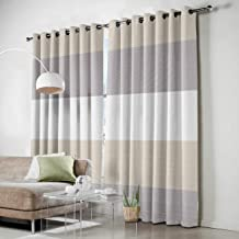 SODIKA Grommet Window Panel Curtain Set, Room Décor Curtain Drapes for Living Room Dining Bedroom - Gray and White Stripe,Each 52 by 63 Inch,Set of Two Panels