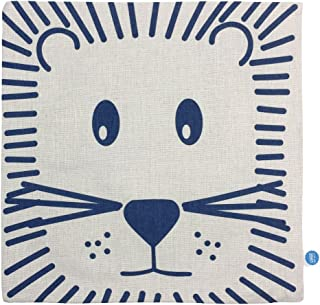 """GOSTAR StarGo Scandinavian Modern Cotton Linen Square Throw Pillow Covers Decorative Cushion Covers Pillowcases Indoor Sofa Couch Coffee Accent Kids room and bed 18""""x18"""" (Lion)"""