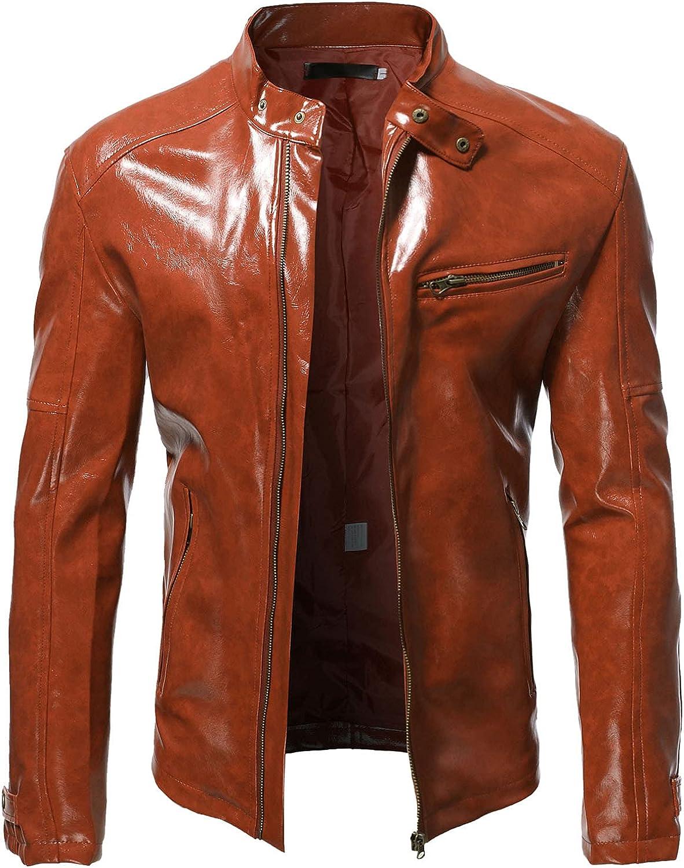 AMTF 2021 Men Smooth Faux Leather Jacket Fashion Street Cool Motocycle Jacket Slim Fit Stand Collar Pocket Jacket Coat