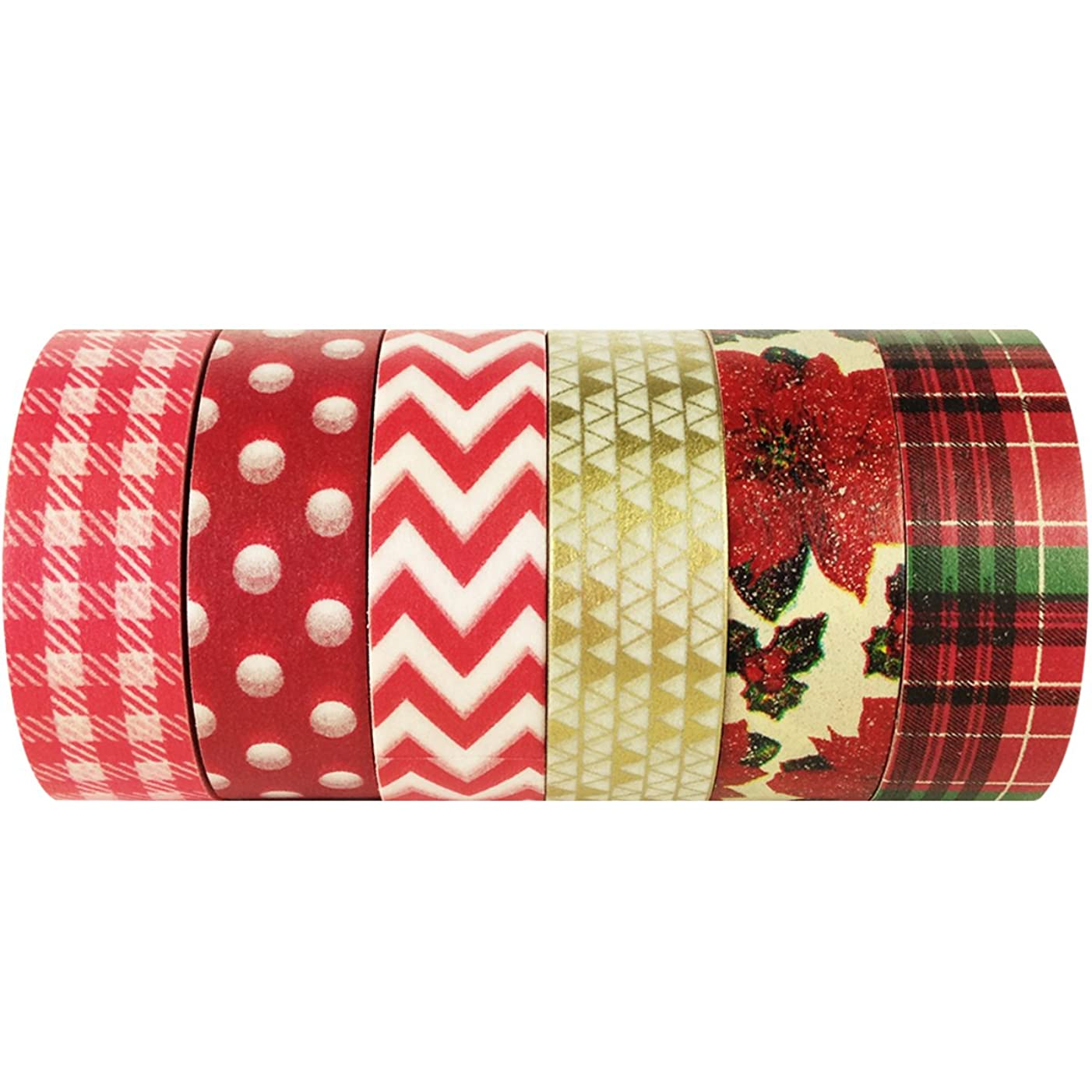 ALLYDREW Red Poinsetta Washi Tape Rolls Decorative Masking Tapes Set - 6 Rolls