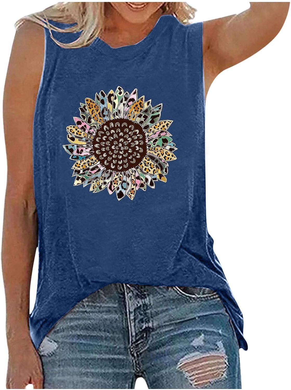 Summer Shirts for Women,Womens Summer Vintage Cute Flower Printed Vest Round Neck Sleeveless Tshirt Tops Tunic