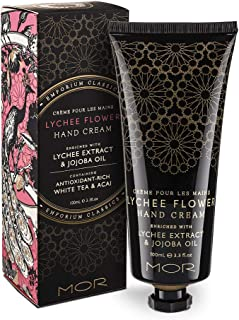 Hand Cream, MOR Sweet Almond Oil Vitamin E Shea Butter Hand Repair Cream for Dry and Aging Hands Fragrance Hand Lotion Daily Hand Moisturizer Lychee Flower 100ml/3.1fl oz