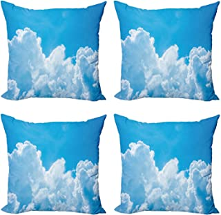 """Ambesonne Clouds Decorative Throw Pillow Case Pack of 4, Crystal Clouds in The Sky Heavenly Life Hope Surface of Planetary Body Image, Cushion Cover for Couch Living Room Car, 18"""", White Blue"""