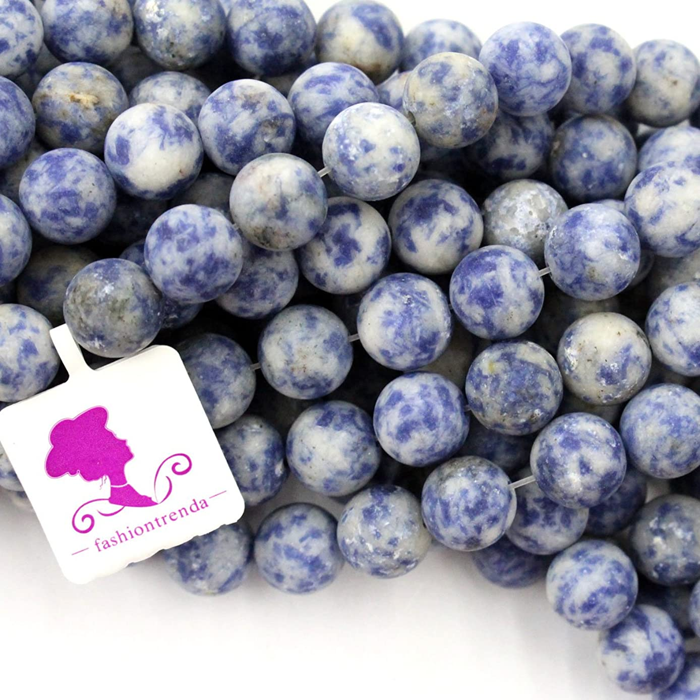 Fashiontrenda Natural Matte Unpolished African Sodalite Round Gemstones Beads for DIY Jewelry Making (8mm)