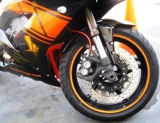 CaliBikerClub Orange Reflective Wheel Rim Stripe Decal Tape for Motorcycle Wheels 17