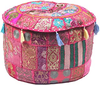 Radhy krishna fashions Indian Vintage Ottoman Pouf Cover,Patchwork Ottoman, Living Room Patchwork Foot Stool Cover,Decorative Handmade Home Chair Cover (Pink, 14X22X22)
