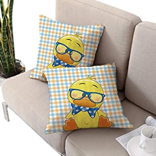 Cartoon Decor Square custom pillowcase ,Hipster Boho Baby Duck with Dotted Bow Cool Free Spirit Smart Geese Artsy Decor Orange Yellow Blue W24