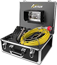 Sewer Camera,Anysun 50m/164ft Drain Pipe Inspection Cameras-Snake Cam Video Inspection Camera With 7 Inches LCD Monitor(Include 8GB SD Card)