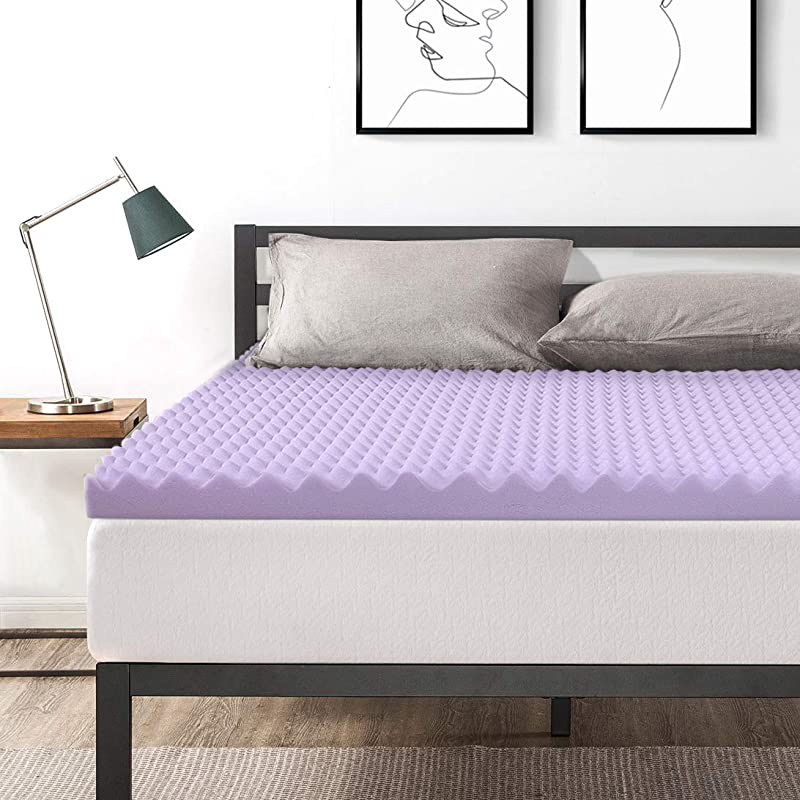 Best Price Mattress King 3 Inch Egg Crate Memory Foam Bed Topper With With Lavender Cooling Mattress Pad