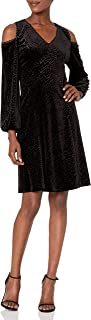 NINE WEST Women's Velvet Arrow Burnout Cold Shoulder Dress
