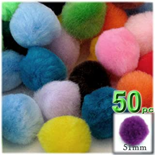 The Crafts Outlet 50-Piece Multi Purpose Pom Poms, Acrylic, 51mm/About 2.0-inch, Round, Multi Mix