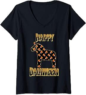 Womens Happy Dalaween Funny Swedish Dala Horse Halloween V-Neck T-Shirt