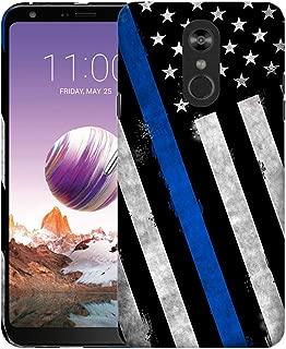 Inkmodo - Designer Hard Case for LG Stylo 4 - Thin Blue Line USA Police Flag Printed Slim Profile Cute Plastic Snap on Back Cover